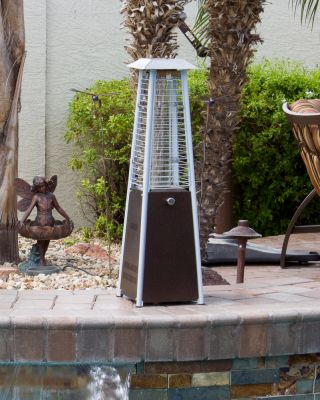 Glass Tower Hammered Bronze Tabletop Outdoor Patio Heater