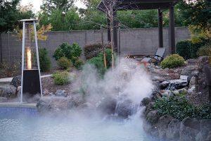 Fogging system in backyard pool patio.
